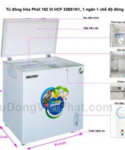 Các bộ phận tủ đông Hòa Phát 162 lít HCF 336S1N1