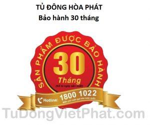 Tem bảo hành 30 tháng của tủ đông Hòa Phát 655, 271 lít, HCF-655S2PĐ2 dàn đồng