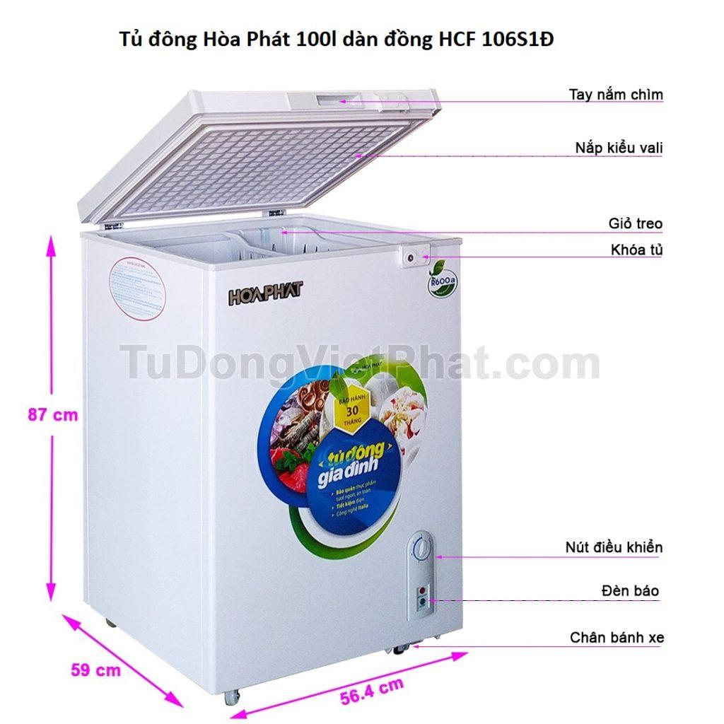 Các bộ phận tủ đông Hòa Phát 100l dàn đồng HCF 106S1Đ
