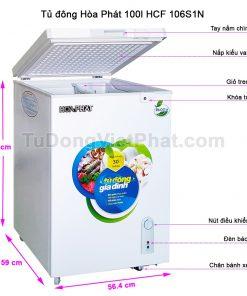 Các bộ phận tủ đông Hòa Phát 100l HCF 106S1N 1 ngăn đông