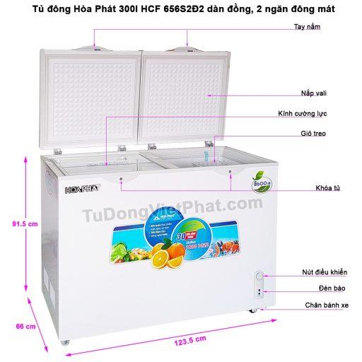 Các bộ phận tủ đông Hòa Phát 300l, HCF 656S2Đ2 dàn đồng, 2 ngăn đông mát