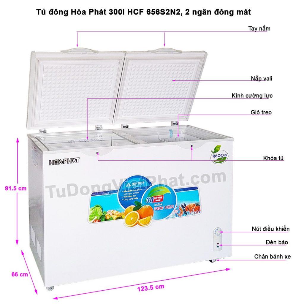 Các bộ phận tủ đông Hòa Phát 300l HCF 656S2N2, 2 ngăn đông mát