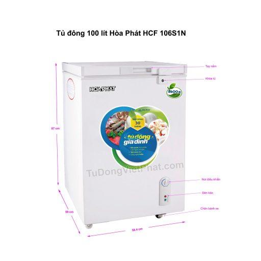 Tủ đông mini 100l Hòa Phát HCF 106S1N dàn nhôm