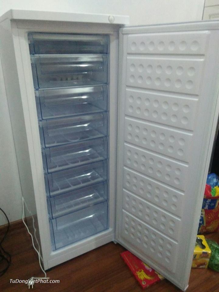 Bên trong tủ đông đứng Hòa Phát HCF 220P 216 lít