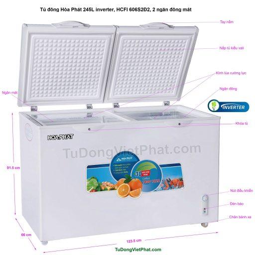 Các bộ phận của tủ đông Hòa Phát 245L inverter, HCFI 606S2Đ2, 2 ngăn đông mát