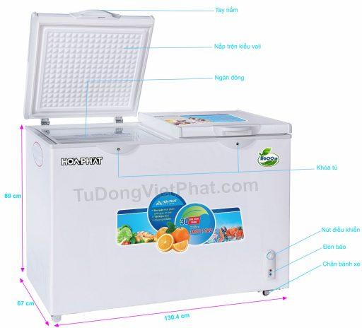 Các bộ phận của tủ đông Hòa Phát 400l, HCF 666S1N2, 1 ngăn đông