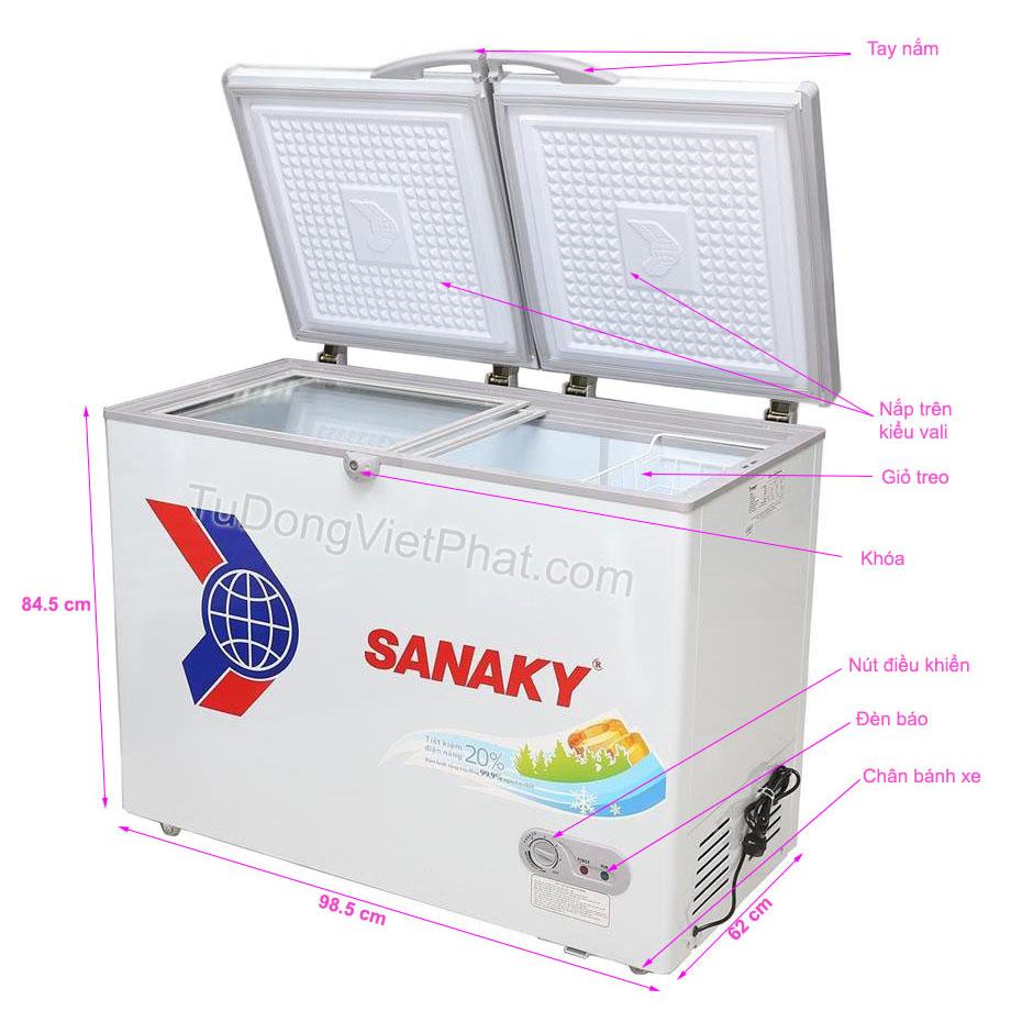 Các bộ phận của tủ đông mini 208L Sanaky VH-2599A1, 1 ngăn đông