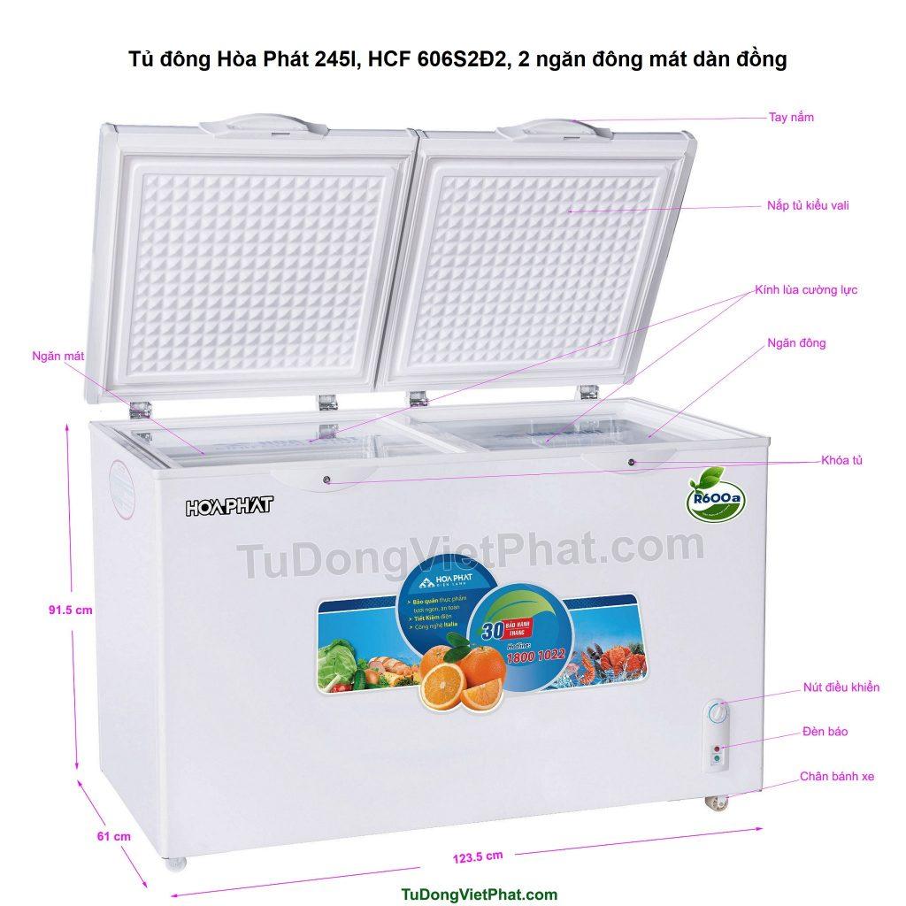Các bộ phận tủ đông Hòa Phát 245l, HCF 606S2Đ2, 2 ngăn đông mát dàn đồng