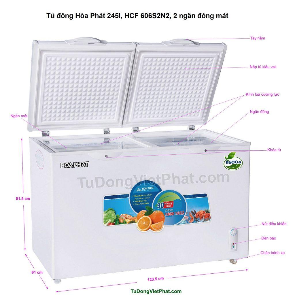 Các bộ phận tủ đông Hòa Phát 245l, HCF 606S2N2, 2 ngăn đông mát