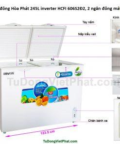 Kích thước tủ đông Hòa Phát 245L inverter HCFI 606S2Đ2