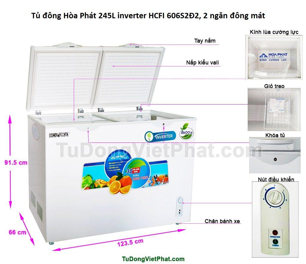 Các bộ phận tủ đông Hòa Phát 245L inverter HCFI 606S2Đ2, 2 ngăn đông mát