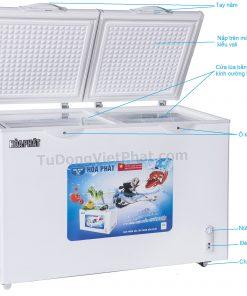 Các bộ phận của tủ đông Hòa Phát HCF-505S2PĐ2 205L 2 ngăn dàn đồng