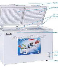 Các bộ phận của tủ đông Hòa Phát HCF-600S2PN2 240 lít 2 ngăn đông mát
