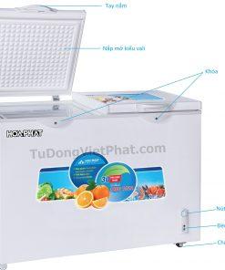 Các bộ phận của tủ đông Hòa Phát HCF-665S1PĐ2, 352L 1 ngăn đông dàn đồng