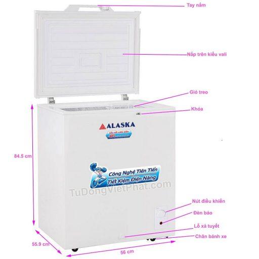 Các bộ phận của tủ đông mini 100L Alaska BD-150 1 ngăn đông