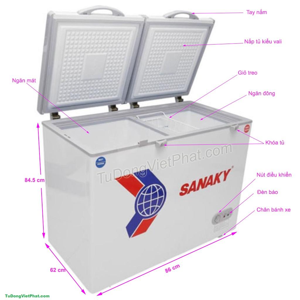 Các bộ phận của tủ đông mini 165L Sanaky VH-225W2, 2 ngăn đông - mát