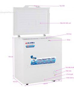 Các bộ phận của tủ đông mini 200L Alaska BD-200 1 ngăn đông