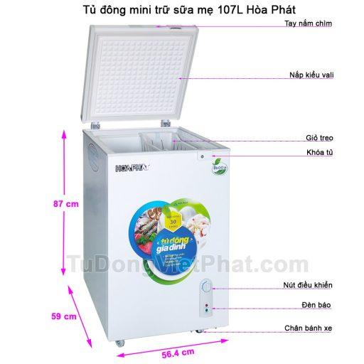 Các bộ phận tủ đông mini trữ sữa mẹ 107L Hòa Phát