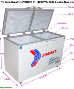 Các bộ phận của tủ đông Sanaky INVERTER VH-3699W3, 270L 2 ngăn đông mát