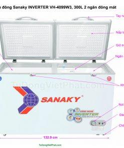 Các bộ phận của tủ đông Sanaky INVERTER VH-4099W3, 300L 2 ngăn đông mát