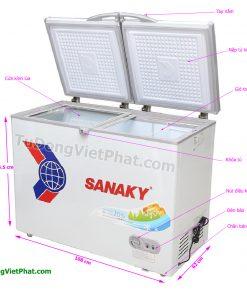 Các bộ phận của tủ đông Sanaky VH-2899A1, 235L 1 ngăn đông dàn đồng