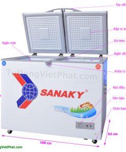 Các bộ phận của tủ đông Sanaky VH-2899W1, 220L 2 ngăn đông mát dàn đồng