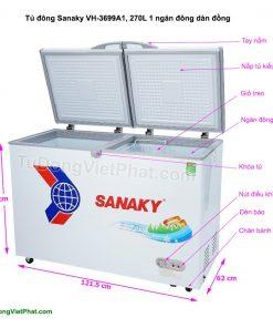 Các bộ phận của tủ đông Sanaky VH-3699A1, 270L 1 ngăn đông dàn đồng