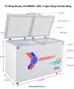 Các bộ phận của tủ đông Sanaky VH-3699W1, 260L 2 ngăn đông mát dàn đồng