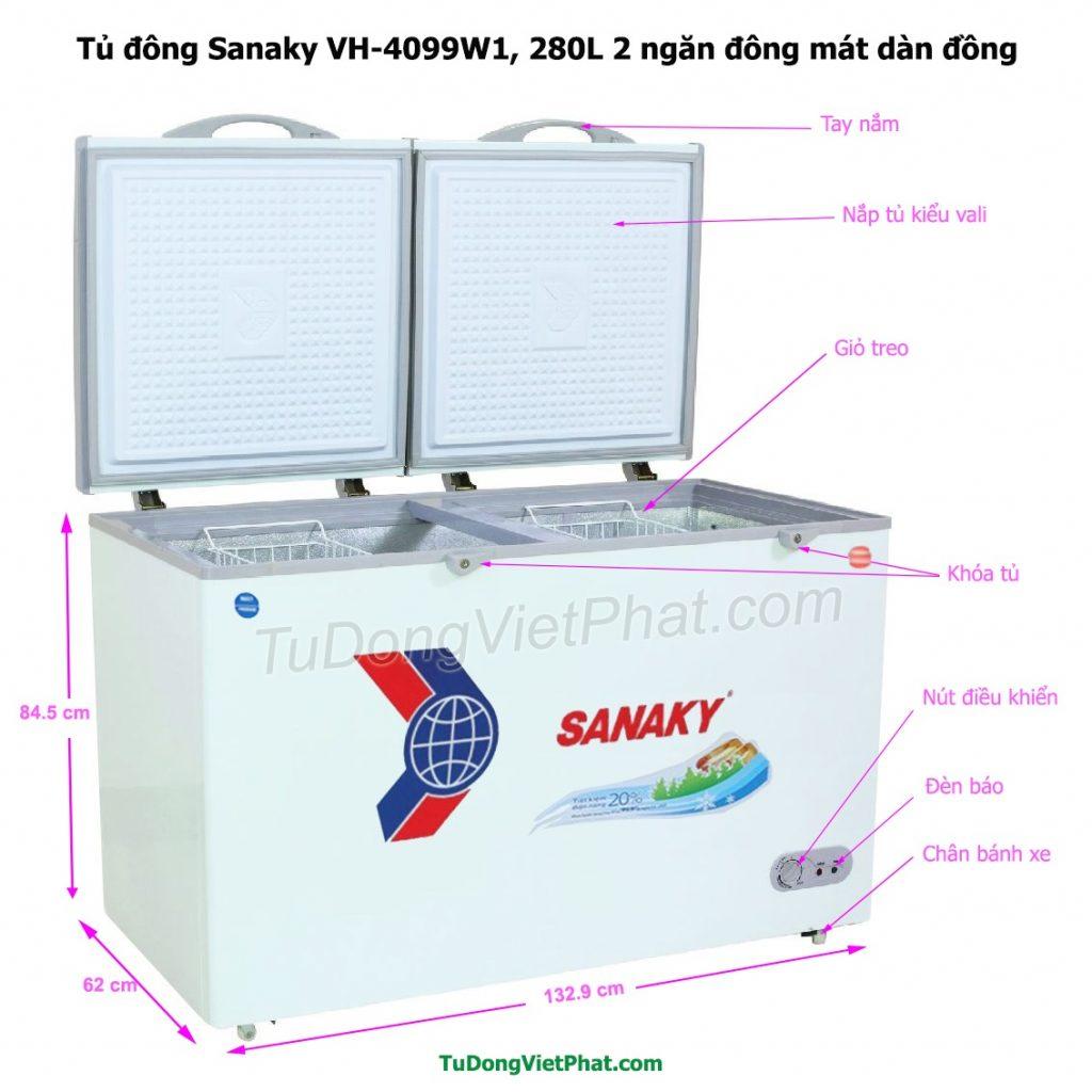 Các bộ phận của tủ đông Sanaky VH-4099W1, 280L 2 ngăn đông mát dàn đồng