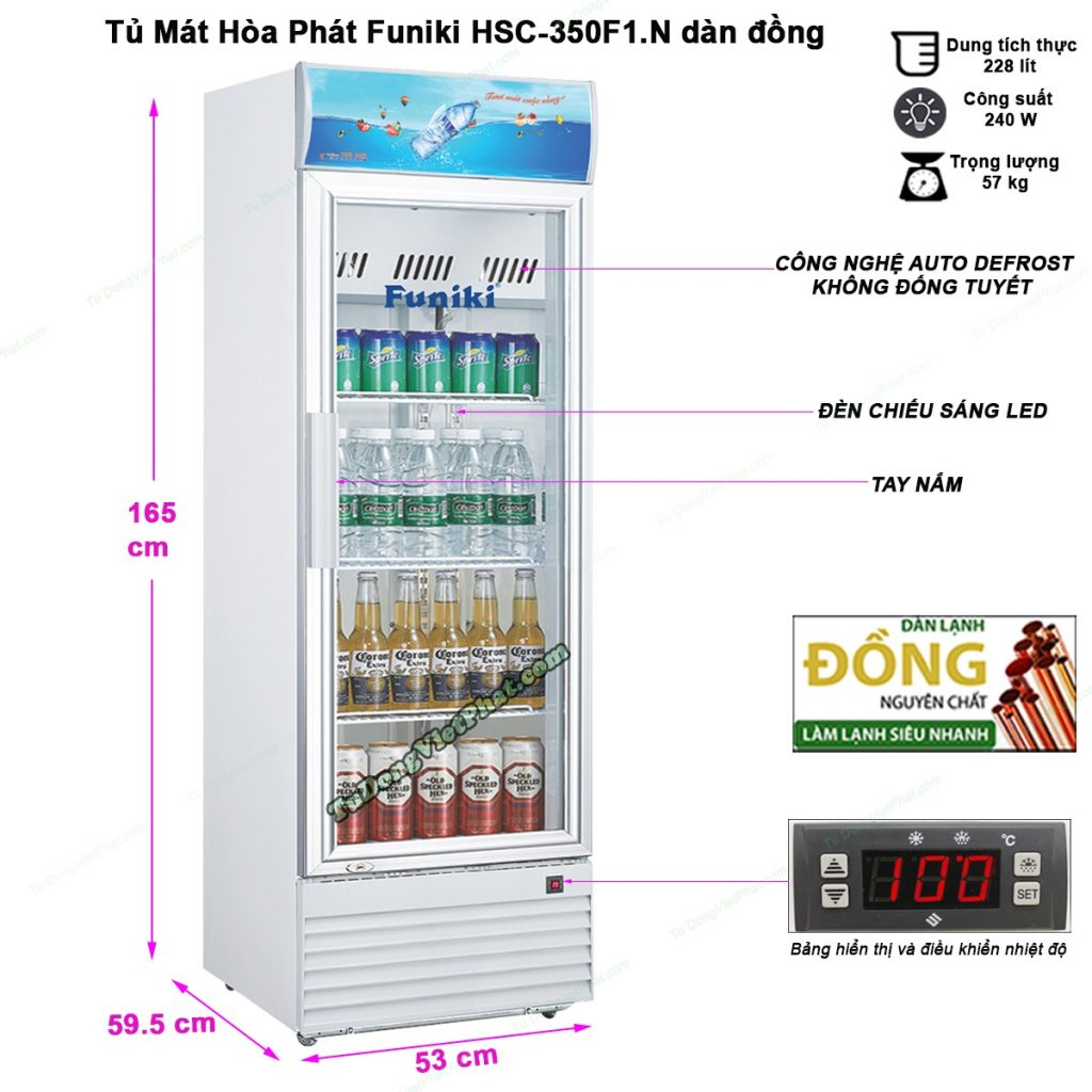 Kích thước tủ mát Hòa phát Funiki HSC-350F1.N 228 lít