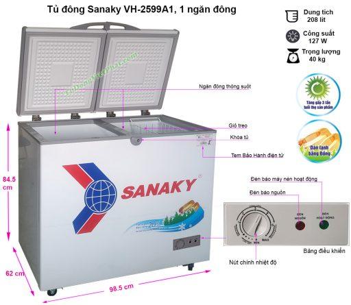 Kích thước tủ đông mini 208L Sanaky VH-2599A1, 1 ngăn đông