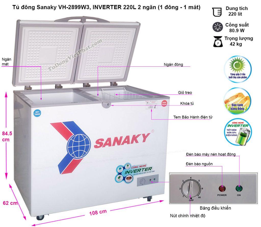 Kích thước tủ đông Sanaky INVERTER VH-2899W3, 220L 2 ngăn đông mát