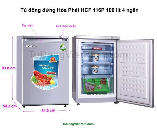 Kích thước tủ đông đứng Hòa Phát HCF 116P 100 lít 4 ngăn