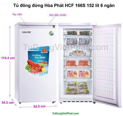 Kích thước tủ đông đứng Hòa Phát HCF 166S 152 lít 6 ngăn