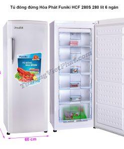 Kích thước tủ đông đứng Hòa Phát Funiki HCF 280S 280 lít