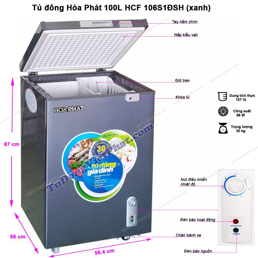 Kích thước tủ đông Hòa Phát 100L HCF 106S1ĐSH