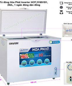 Kích thước tủ đông Hòa Phát 252L Inverter HCFI 516S1Đ1, 1 ngăn đông