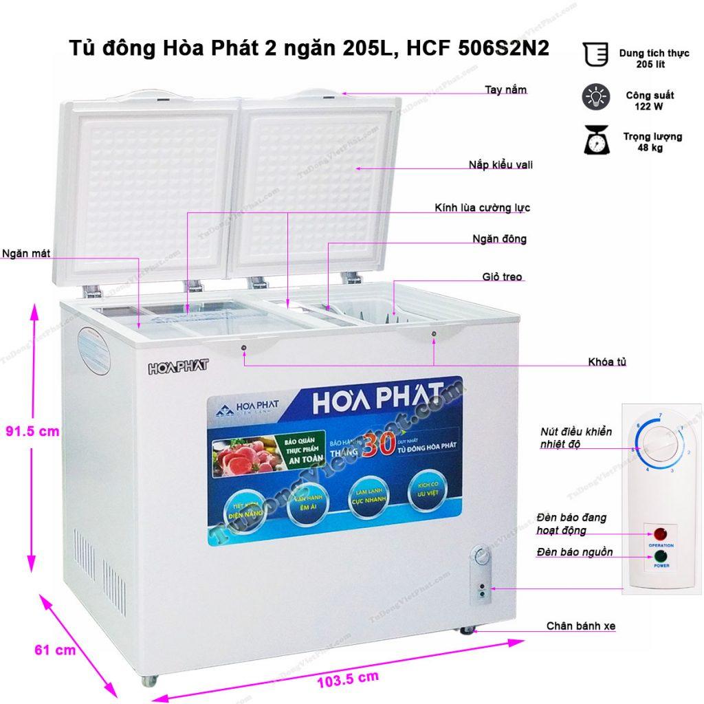 Kích thước tủ đông Hòa Phát 205L HCF 506S2N2, tủ mini 2 ngăn
