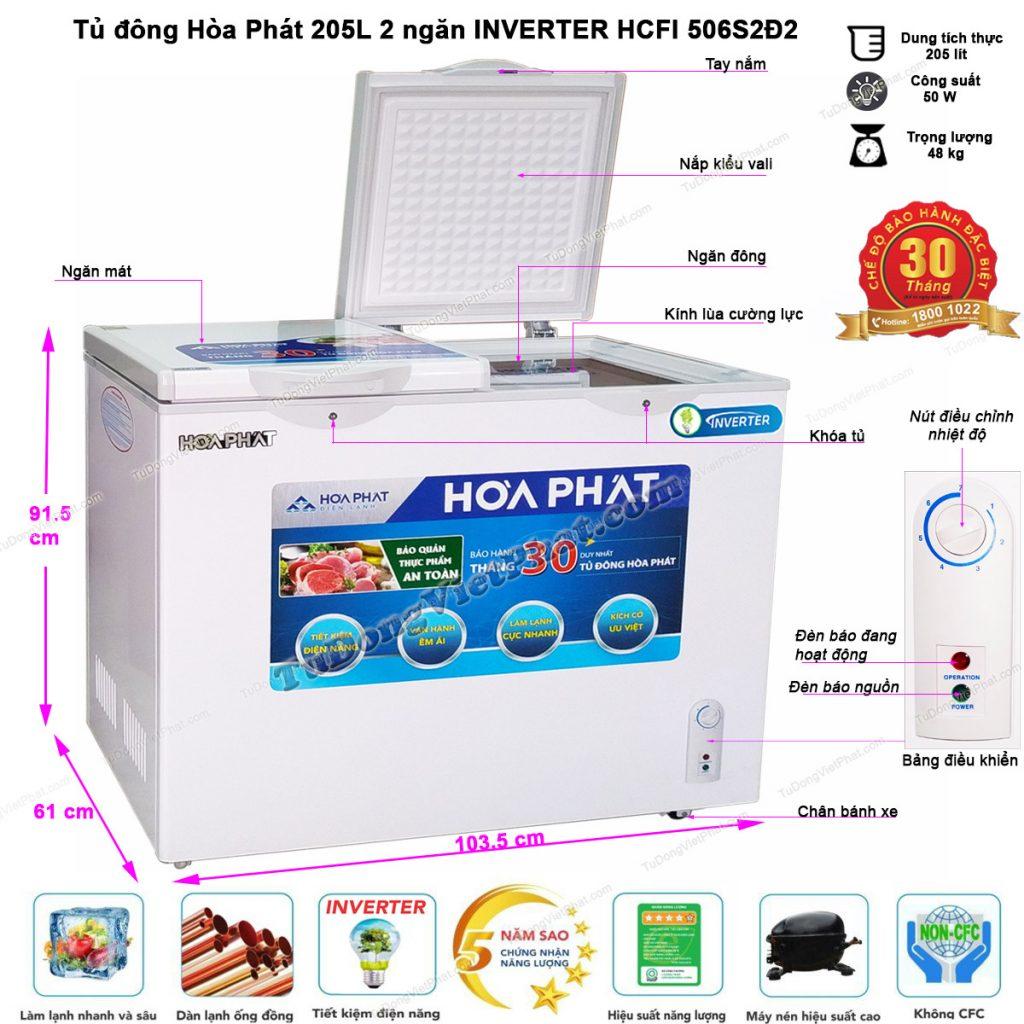 Kích thước tủ đông Hòa Phát Inverter HCFI 506S2Đ2, tủ mini 2 ngăn 205L