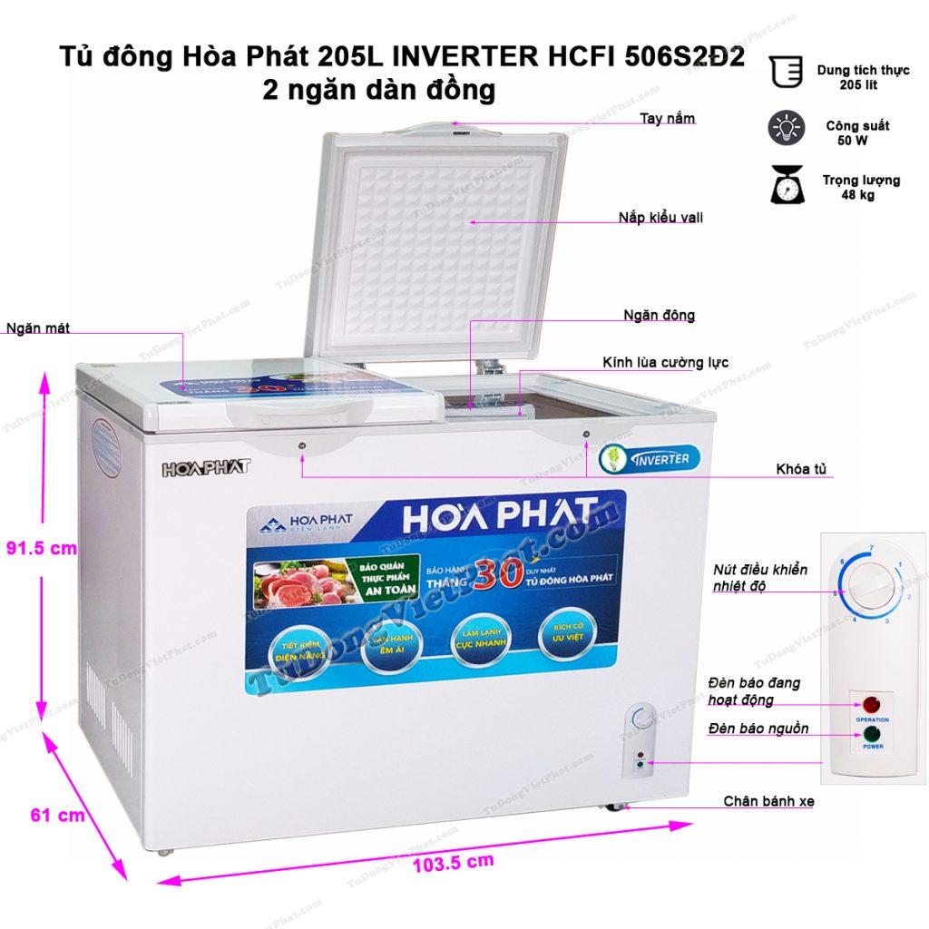 Kích thước tủ đông Hòa Phát 205L Inverter HCFI 506S2Đ2
