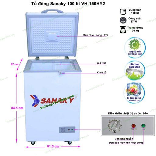Kích thước tủ đông Sanaky 100 lít VH-150HY2 dàn nhôm