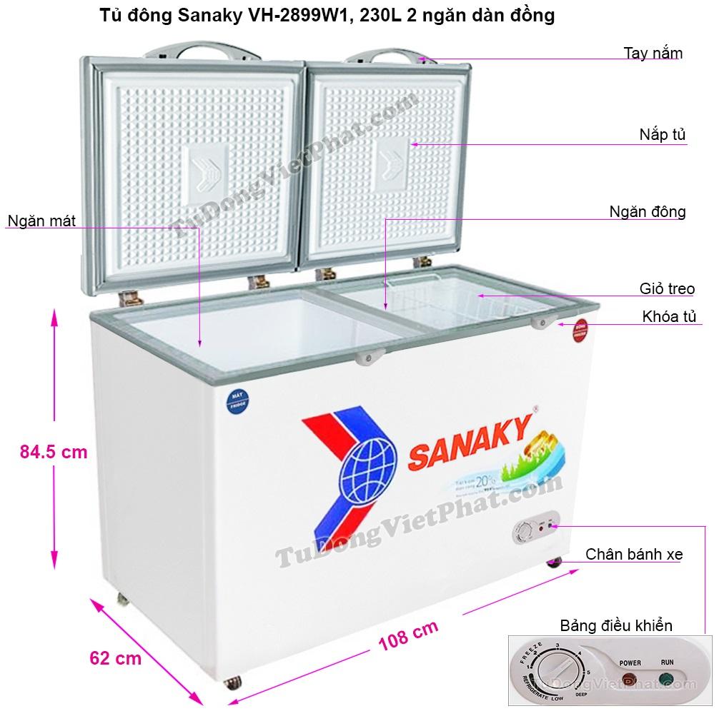 Kích thước tủ đông Sanaky VH-2899W1