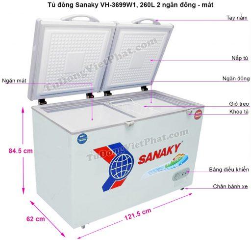 Kích thước tủ đông Sanaky VH-3699W1