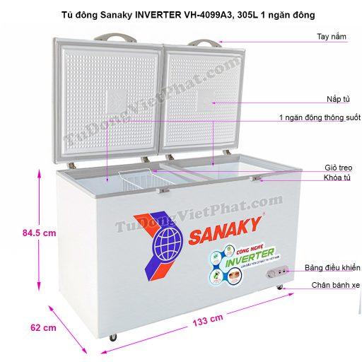Kích thước tủ đông Sanaky VH-4099A3