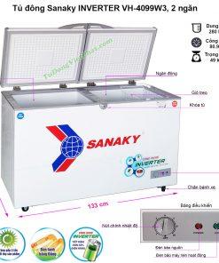 Kích thước tủ đông Sanaky VH-4099W3 INVERTER 2 ngăn đông mát