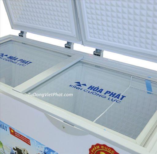 Kính cường lực của tủ đông Hòa Phát 205L Inverter HCFI 506S2Đ2, 2 ngăn đông mát