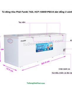 Tủ đông Hòa Phát Funiki 742L HCF-1300S1PĐ3.N dàn đồng 3 cánh
