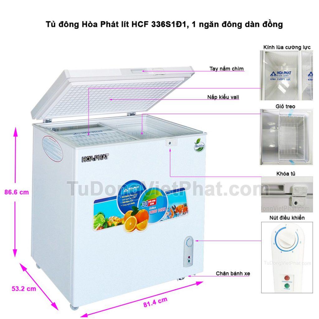 Tủ đông Hòa Phát 162 lít HCF 336S1D1 dàn đồng
