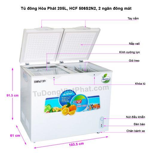 Tủ đông Hòa Phát 205L HCF 506S2N2, 2 ngăn đông mát