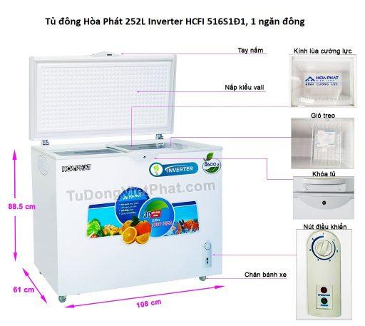 Các bộ phận tủ đông Hòa Phát 252L Inverter HCFI 516S1Đ1, 1 ngăn đông